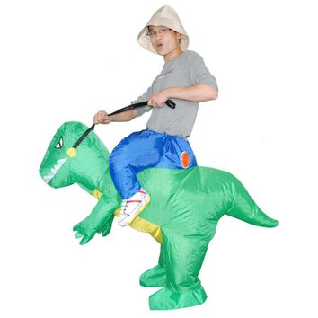 KOOY Factory Outlet Halloween Animal Cosplay Inflatable Dinosaur Costume Red Blue Green Fan Operated Costumes for Adult / Child