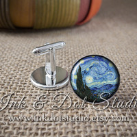 Starry Night Cuff Links, Men's Starry Night Cufflinks, Vincent Van Gogh Cuff Links, Gift for Man, Men's Cuff Links, Gifts for Men