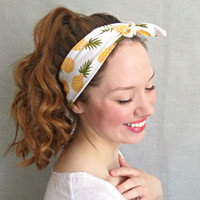 Pineapple Headwrap Yellow Tie Headscarf 50s Headband Womens Hair Accessories
