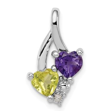 Sterling Silver Amethyst And Peridot Hearts Diamond Accented Pendant