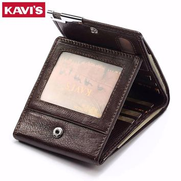 KAVIS Genuine Cow Leather Men Wallet Fashion Coin Purse Pocket Brand Trifold Design High Quality Male Cudan ID Card Holder Walet