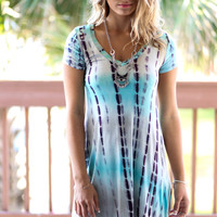 South Rona Mint Short Sleeve Striped V-Neck Dress