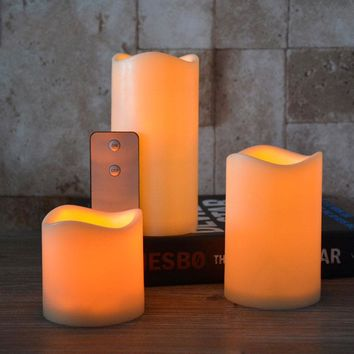 Pack of 3 Yellow Flickering Flameless Pillar Candles With Remote Control, Plastic Led Candles With Timer