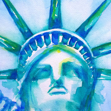 Original Watercolor Statue of Liberty Painting, New York, Liberty Head, Abstract, 8x10, Island, USA,National Monument, Landmark, Blue