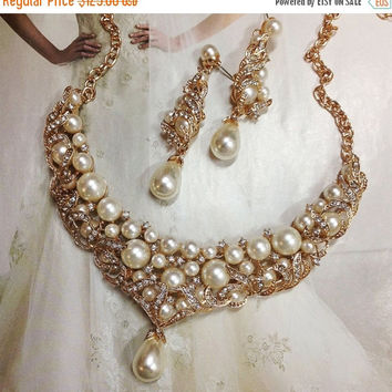 wedding jewelry, Bridal jewelry, Bridal bib necklace earrings , pearl rhinestone ribbon bridal necklace, Golden bridal crystal necklace