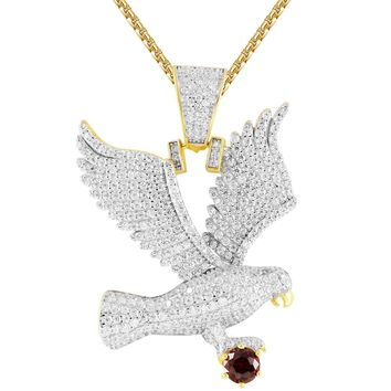 Men s Flying Eagle Created Ruby IcedOut .925 Gold Finish Pendant a3406c2793ca