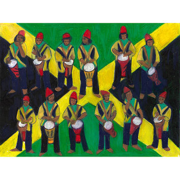 Mixed Media Art,Original Paintings,Folk Art Painting,Mixed Media Painting,Original Artwork,Jamaican Art,Drummer Gifts,12 Days of Christmas