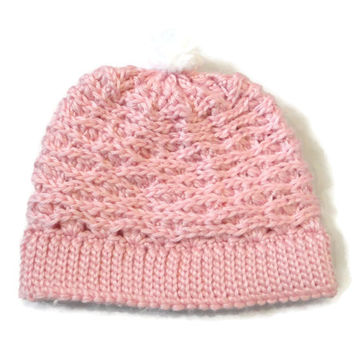 Baby Girl Winter Hat Crochet Knit Pink Pom Pom White 6-18 months