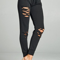 Distressed French Terry Jogger Pants - Black