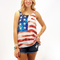 "American Flag Printed Tank ""4th of July"""