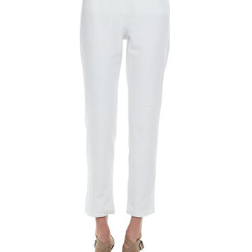 Washable Crepe Slim Ankle Pants, Women's - Eileen Fisher - White (3X (22/24))