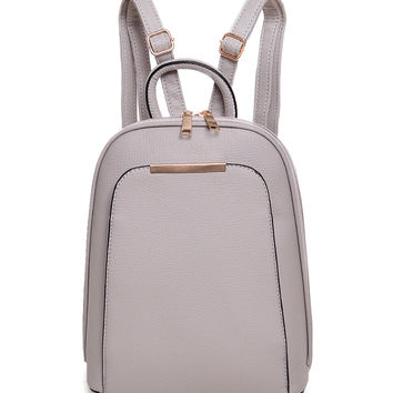 Gray Pocket Front Metal Bar Detail Backpack