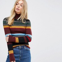 Levi's Orange Tab Multi Stripe Polo Neck at asos.com