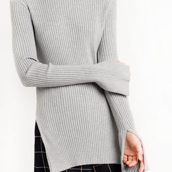 GREY SKINNY RIBBED LONG SLEEVE TOP