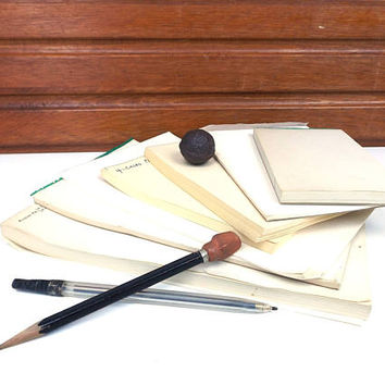 vintage 50s collection of 7 notepad paper pads ephemera 245 pages aged old retro craft supplies scrapbook journal write memo ledger receipt