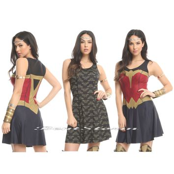 Licensed cool WONDER WOMAN Armor Logo REVERSIBLE 2-N-1 Dress Licensed Her Universe Hot Topic