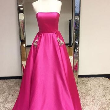 A Line Strapless Two Pockets Pink Red Prom Dress