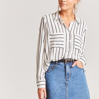 Pinstripe High-Low Shirt