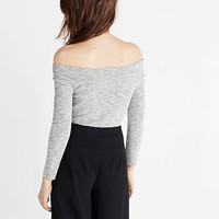 marled fitted bateau neck pullover sweater