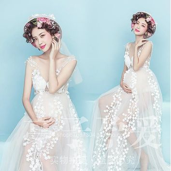Maternity Photography Props Pregnant Women Noble Long white Elegant Dress Romantic Photo Shoot Fancy costume free shipping