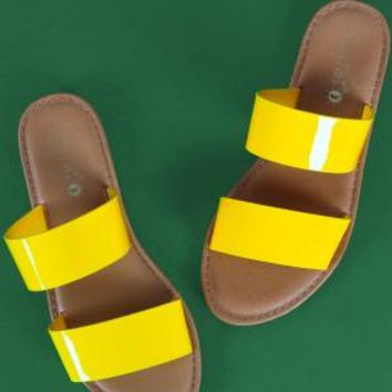 Sunny Feet Patent Double Band Slide Flat Sandals