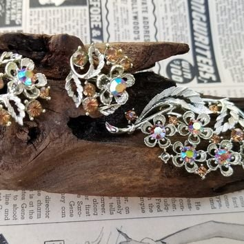 Aurora Borealis rhinestone fall floral and leaf demi parure earrings and brooch vintage set