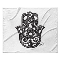 "Adriana De Leon ""Hamsa Hand"" Black White Fleece Throw Blanket"