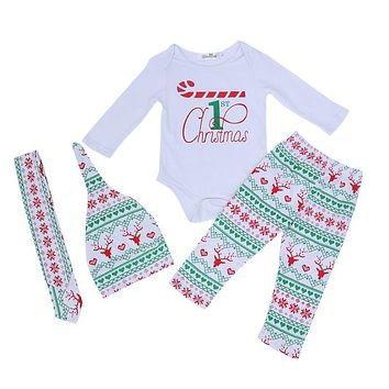 Baby Casual Clothes Set Boys Girls Christmas Long Sleeve Jumpsuit + Elk Print Pants + Hat + Headband Outfits Kids Clothing