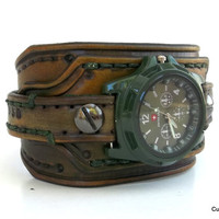 Men's Watch Cuff, Leather Wrist Watch, Handmade Watch Bracelet, Military Style