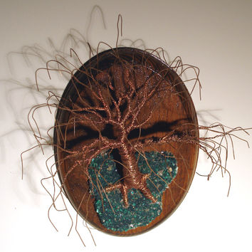 Oak on Oval Base. Wall Art Wire Tree Sculpture
