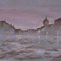 Venice Purple Nightfall Original Drawing