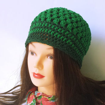 Women summer hat, green crochet beanie, scalloped hat, ladies crochet cap, hat under 25, cool hat, cotton skull hat, kids or adult size