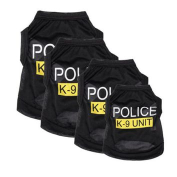 Pet Dog Clothes Black Police Suits Pets Puppy Apparel Dog Costumes Summer T-Shirts Police Clothes Vest Clothing Dropshipping