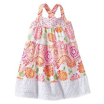 Penny M Mosaic Floral Eyelet Dress - Toddler Girl, Size: