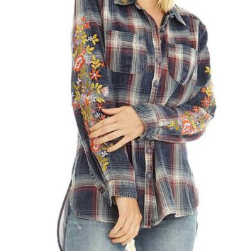 Barbara Embroidered Denim Shirt