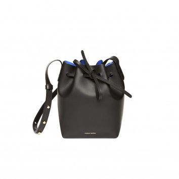 Mansur Gavriel Mini Mini Bucket (Black/Royal)