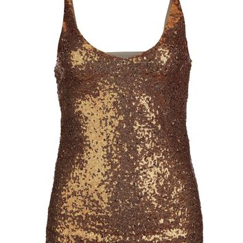 Casual Sparkling Sequin Spaghetti Strap Sleeveless T-Shirt
