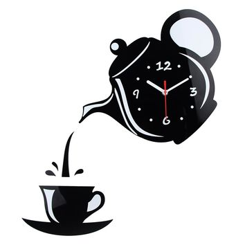 New Arrival Wall Clock Mirror Effect Coffee Cup Shape Decorative Kitchen Wall Clocks  Living Room Home Decor Wandklok