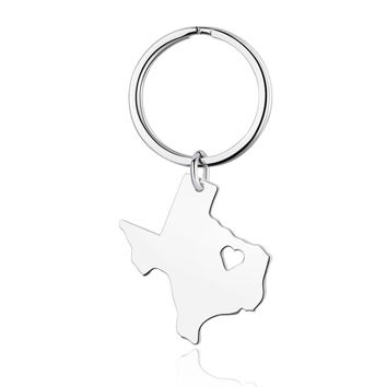 Texas Alloy State Map Keychain - Long Distance Relationship for Best Friends