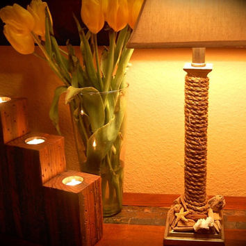 """Three Tiered Tea Light Distressed Wood Candle Holder~ Reclaimed and Stined Wood. Massive size 11.5 """" Tall X 101/4"""" Long and 3.5"""" Wide"""
