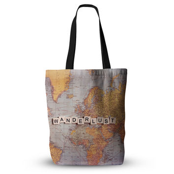 "Sylvia Cook ""Wanderlust Map"" World Everything Tote Bag"