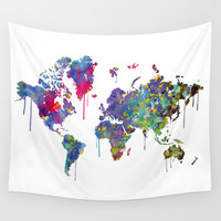 World Map Watercolor Wall Tapestry by Bitter Moon
