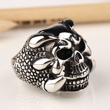 Punk Rock Mens Biker Rings Vintage Gothic Skeleton Jewelry Antique Silver Dragon Claw Ring Men Skull Rings US Size