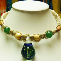 Green Blue Spiral  Glass Mushroom Hemp Necklace