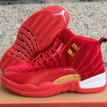 Air Jordan 12 GS AJ 12 Retro Red Gold Men Women Basketball Shoes 177acd4cfd