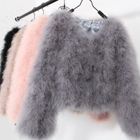10 colors fashion sexy Ostrich wool turkey fur 2015 wool coat feather fur short jacket angelababy