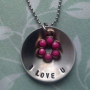 I LOVE U Personalized Hand Stamped Necklace with Metal Flower Charm - Stainless Steel