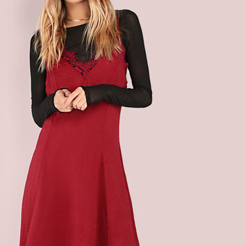 Lace Hem Cami Fit & Flare Dress BURGUNDY | MakeMeChic.COM