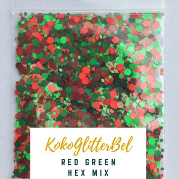 Holographic Glitter Hex- Red & Green