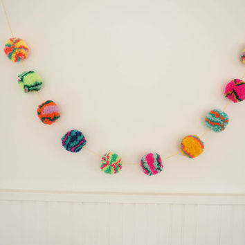 Multicolour Colourful Rainbow Pom Pom Garland Bunting Festival Cute